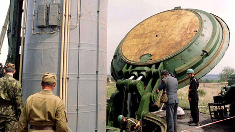 FILE PHOTO. A Soviet era SS-19 nuclear missile carrier is pulled out from it's silo at a military base in Krasilovo 300 km west from the capital Kiev May 14, 1997. © Reuters