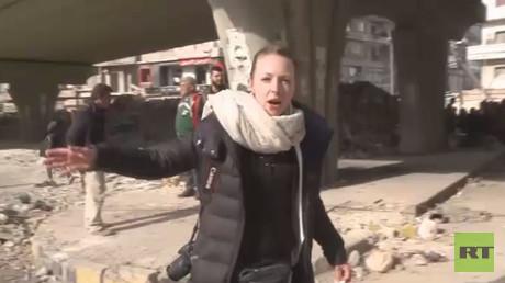 Video still shows RT correspondent Lizzie Phelan in Aleppo's Old City on December 7, 2016