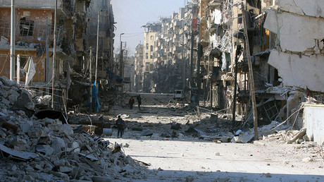FILE PHOTO: Tariq al-Bab and al-Sakhour neighborhoods of eastern Aleppo November 28, 2016 © Abdalrhman Ismail