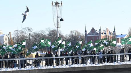 FILE PHOTO: The Nordic Resistance Movement (Nordiska motstandsrorelsens), a Nordic National Socialist organisation, demonstrates in central Stockholm November 12, 2016 © Fredrik Sandberg