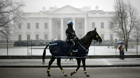 A U.S. National Park Service Policeman rides his horse past the White House as snow falls on the nation's capital © Jason Reed