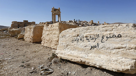 Graffiti (R) sprayed by Islamic State militants which reads