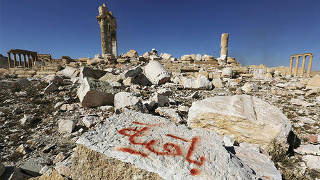 Graffiti sprayed by Islamic State militants which reads