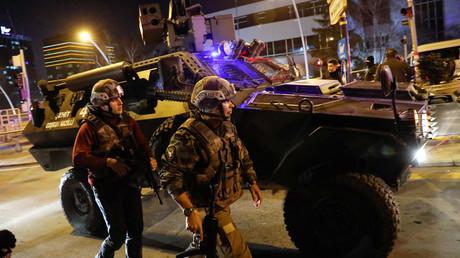 Turkish police secure the area near an art gallery where the Russian Ambassador to Turkey Andrei Karlov was shot in Ankara, Turkey, December 19, 2016. © Umit Bektas