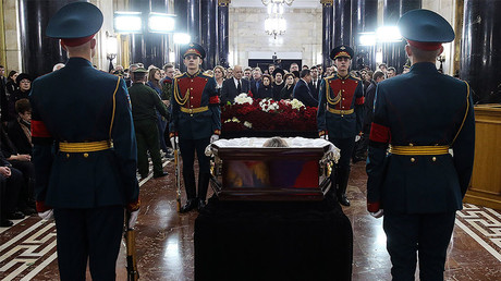 The ceremony to pay last respects to Russian Ambassador to Turkey Andrei Karlov at the Russian Foreign Ministry. © VAleriy Sharifulin / TASS / Pool