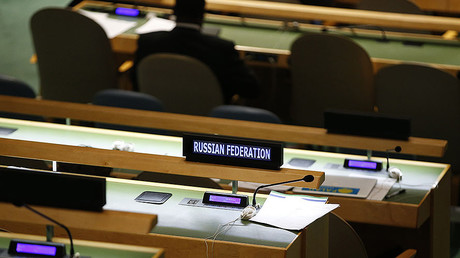The seats for the Russian delegation are seen unoccupied during the session of the United Nations General Assembly at the U.N. Headquarters in New York. © Mike Segar / Reuters