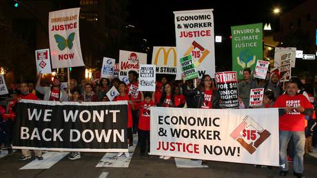 Demonstrators in the