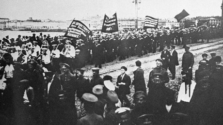 Revolutionary demonstration in Petrograd (St. Petersburg) involving 10,000 sailors, with the crew of the cruiser Aurora among them. June 18, 1917
