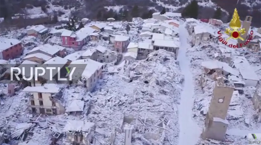 Drone video of snow covered Italian town shows devastating effects of quake months later (VIDEO)
