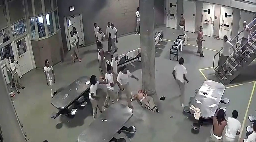 Five injured after wild brawl in America's largest jail (VIDEO)