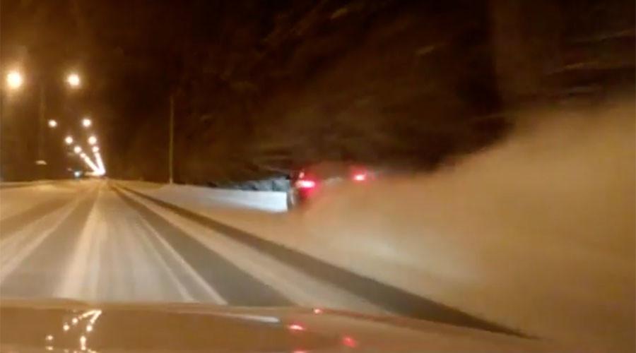 Fatal high-speed street race crash on snowy Siberian road caught on dashcam (VIDEO)