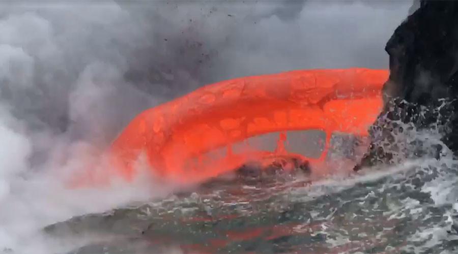 Spectacular 'lava firehose' spews molten rock into ocean (VIDEOS, PHOTOS)