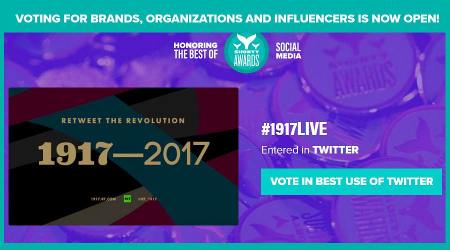 Vote now! Help RT win Audience Honor at prestigious Shorty social media awards