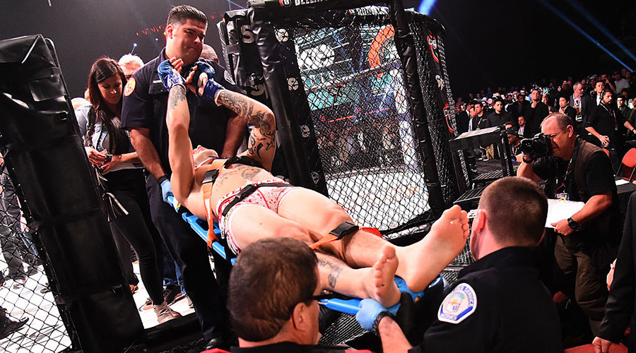 MMA fighter carried off on stretcher after being KO'd by flying knee at Bellator 170