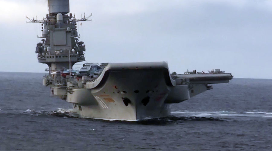 Russian 'Admiral Kuznetsov' carrier gets familiar welcome on return journey through English Channel