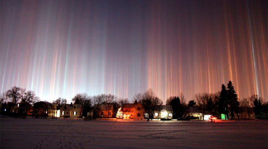 Magical 'light pillar' phenomenon spotted across Russian skies