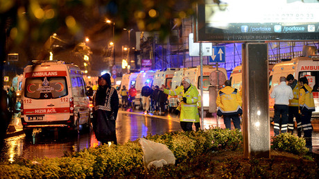 Ambulances line up on a road leading to a nightclub where a gun attack took place during a New Year party in Istanbul, Turkey, January 1, 2017.©  Ismail Coskun
