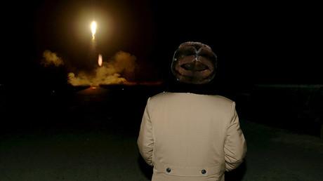 FILE PHOTO: North Korean leader Kim Jong Un watches the ballistic rocket launch © KCNA