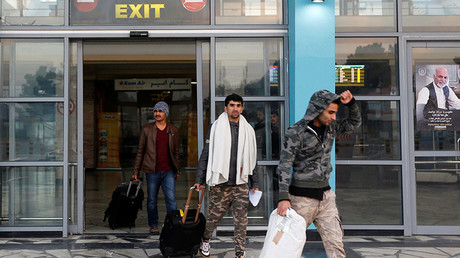 Afghans, whose asylum applications have been rejected, arrive from Germany in Kabul airport, Afghanistan. © Omar Sobhani
