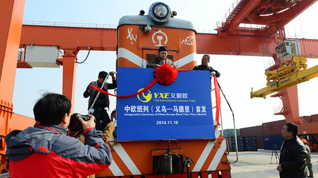 The inauguration ceremony of China-Europe Block Train (Yiwu-Madrid) at Yiwu Railway Freight Station on November 18, 2014 in Jinhua, Zhejiang province of China. ©Tom And Steve / Getty Images