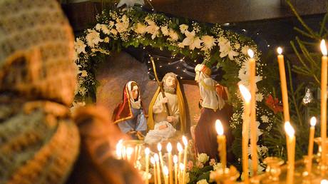 Joyous scenes as people across Russia celebrate Orthodox Christmas