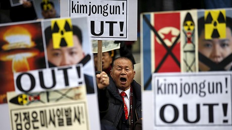 A man chants slogans during an anti-North Korea rally in central Seoul, South Korea, February 11, 2016. © Kim Hong-Ji