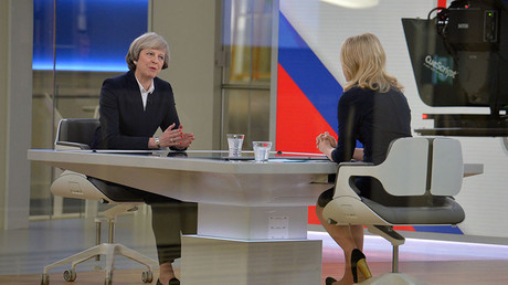 Britain's Prime Minister Theresa May (L) is interviewed by Sophy Ridge on Sky News, during the Ridge on Sunday programme, in London, Britain January 8, 2017. © John Stillwell