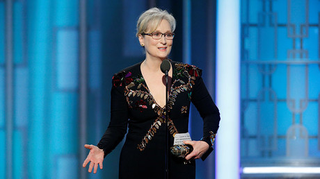 Actress Meryl Streep accepts the Cecil B. DeMille Award. © Paul Drinkwater / Courtesy of NBC