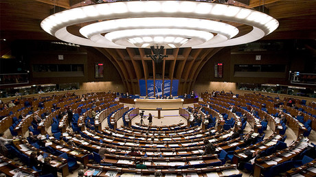 A general view of the hemicycle of Council of Europe is seen during a debate of the Parliamentary Assembly of the Council of Europe © Vincent Kessle