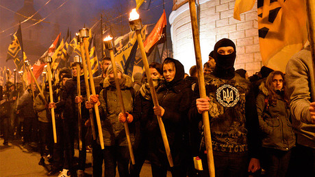 Patriotic activists celebrate the Ukrainian Insurgent Army (UPA) anniversary © Stringer