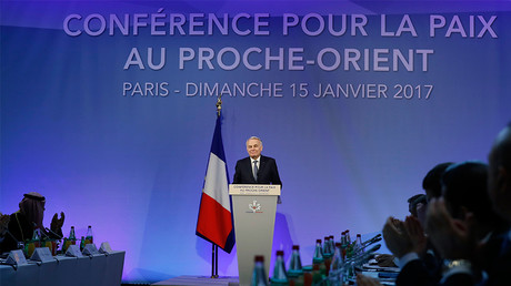 French Minister of Foreign Affairs Jean-Marc Ayrault addresses delegates at the opening of the Mideast peace conference in Paris, January 15, 2017 © Thomas Samson