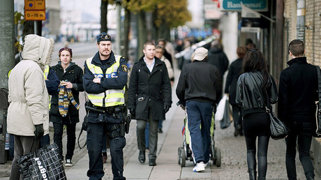 FILE PHOTO: Policemen patrol Nordstan in central Goteborg © Bjorn Larsson Rosvall / Scanpix Sweden