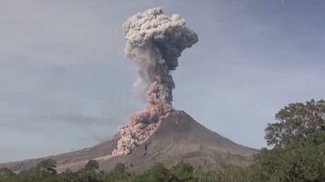 Mount Sinabung spews hot clouds of ash in Indonesia