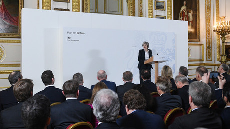 Britain's Prime Minister Theresa May delivers her keynote