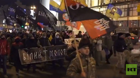 Clashes break out at nationalist march in Ukraine