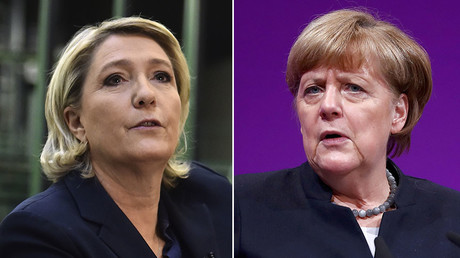 Marine Le Pen, French far-right Front National (FN) party president (L), German Chancellor Angela Merkel (R) © Reuters