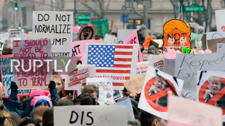 Hundreds of thousands march against Trump in NYC