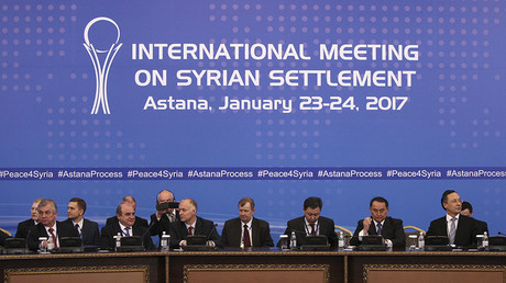 Participants of Syria peace talks attend a meeting in Astana, Kazakhstan January 23, 2017. © Mukhtar Kholdorbekov