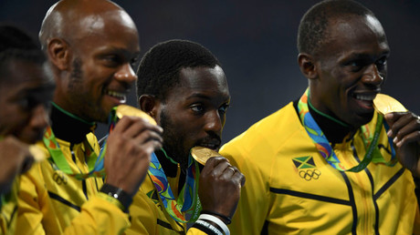 Asafa Powell, Yohan Blake, Nickel Ashmeade and Usain Bolt © Dylan Martinez