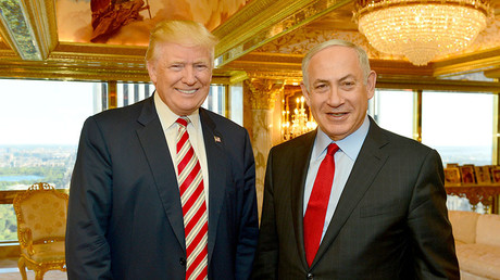 FILE PHOTO. Israeli Prime Minister Benjamin Netanyahu (R) stands next to Republican U.S. presidential candidate Donald Trump during their meeting in New York, September 25, 2016. Kobi Gideon / Government Press Office