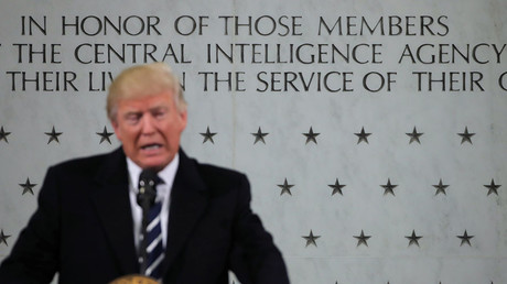 U.S. President Donald Trump delivers remarks during a visit to the Central Intelligence Agency (CIA) in Langley, Virginia U.S. January 21, 2017. © Carlos Barria