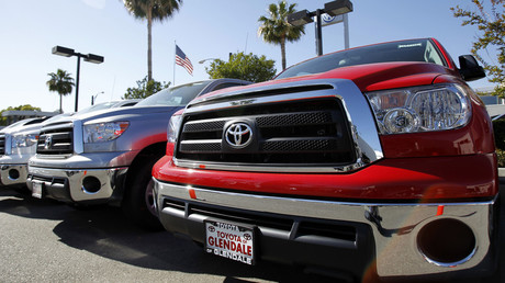 Tundra pick-up trucks are pictured at a dealership in Glendale, California. © Mario Anzuoni