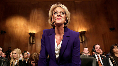Betsy DeVos arrives at the Senate Health, Education and Labor Committee confirmation hearing to be next Secretary of Education on Capitol Hill in Washington, U.S. © Yuri Gripas