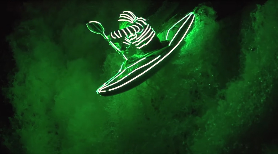 'Liquid Illumination': Kayakers light way through night-time rapids in LED suits (VIDEO)