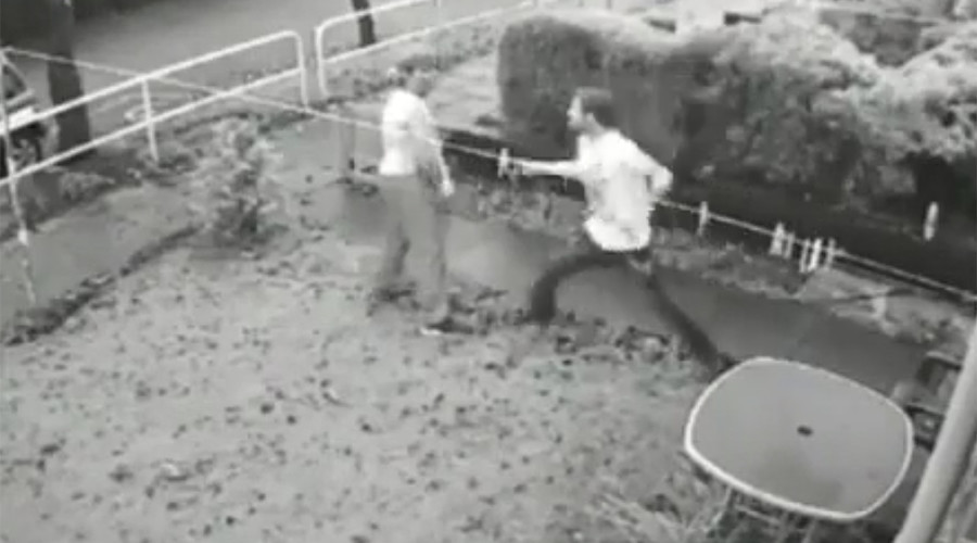 Love-rival neighbors jailed after 'knife duel' caught on CCTV (VIDEO)