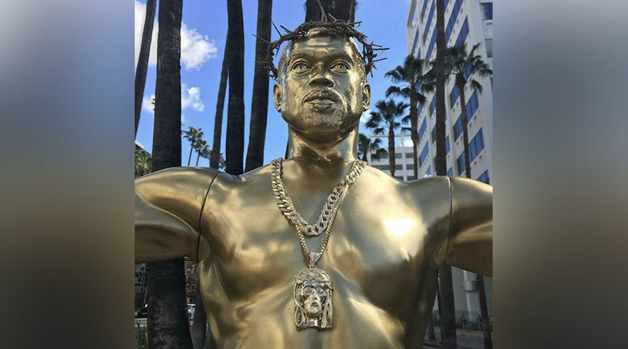 Jesus Kanye! Life-size sculpture depicting rapper as Christ erected in Hollywood