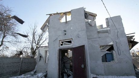 A house damaged by the shelling of the Ukrainian army in Makeevka, Donetsk Region. © Sergey Averin