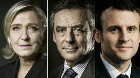 Marine Le Pen (L), Francois Fillon (C), Emmanuel Macron (R). ©AFP