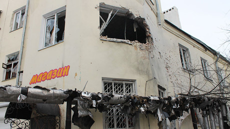 A shop damaged by an attack of the Ukrainian armed forces in Donetsk. © Irina Gerashchenko