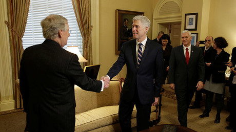 Supreme Court Nominee Judge Neil Gorsuch (C) greets Senate Majority Leader Mitch McConnell and U.S. Vice President Mike Pence on Capitol Hill in Washington, U.S., February 1, 2017. © Joshua Roberts